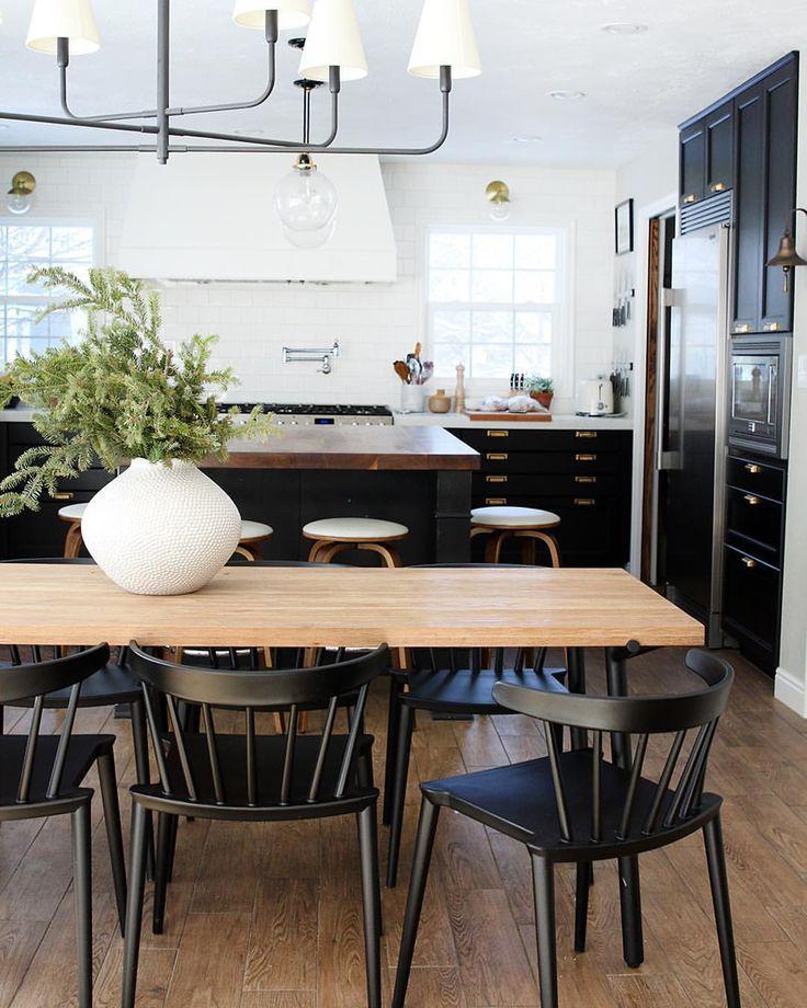 Kitchen With Black Cabinets And Large Island Kitchen Interiordesign Home Decor Kitchen Dining Room Small Farmhouse Kitchen Design Dining room appealing black kitchen