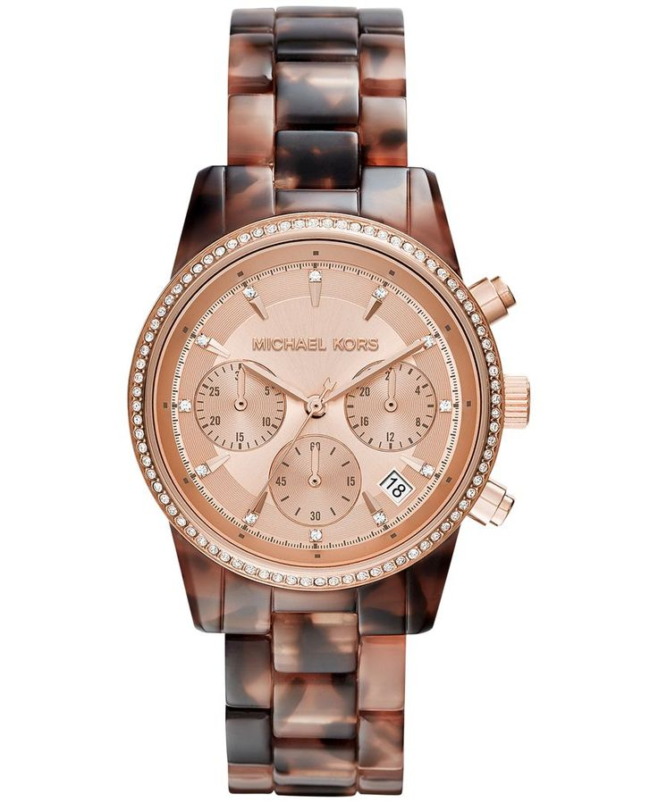 Michael Kors Women's Chronograph Ritz Blush Tortoise-Look Acetate Bracelet Watch 37mm MK6280