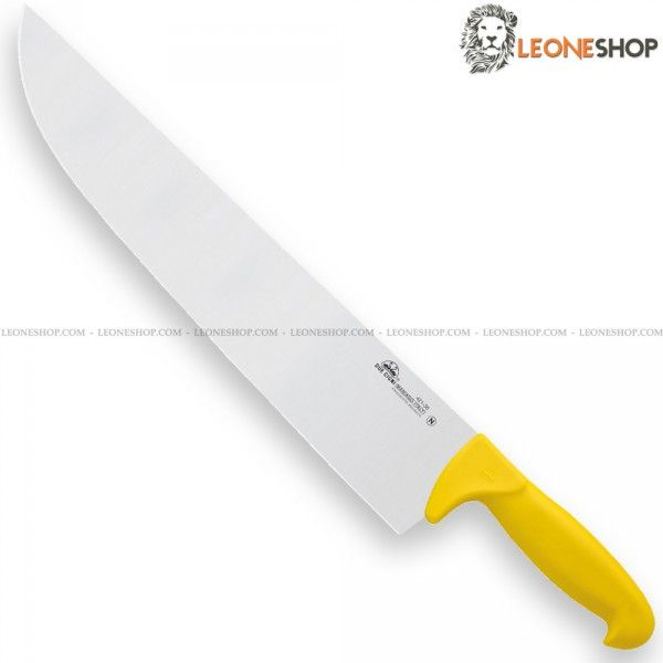 """Professional Butcher Knife """"Butcher"""" series by DUE CIGNI Italy, Professional Kitchen Knives, Chef and for Butcher of stainless steel 4199 NitroB - HRC 55/57 - X50Cr15MOVN of high quality and Nylon handle suitable for washing in a dishwasher - Blade lenght 14.2"""" - Width 2.8"""" - Available with Black or Yellow handle - DUE CIGNI Italy Professional Butcher and kitchen knife, a truly exceptional product with quality materials, great cutting capacity and cutting edge strenght."""
