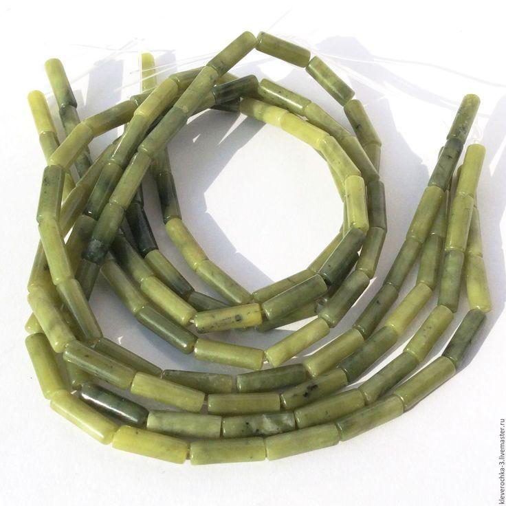 Купить Нефрит 14 мм трубочки бусины камни см.описание и фото - оливковый