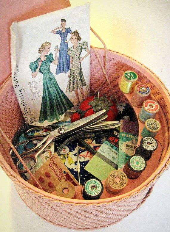 Vintage basket SEWING supplies in basket  by forrestinavintage