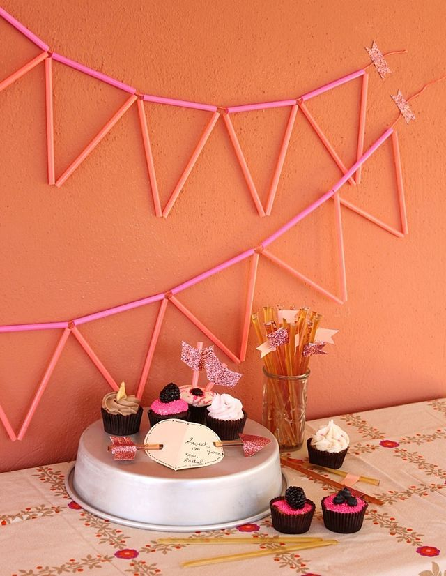 cool neon straw bunting garland