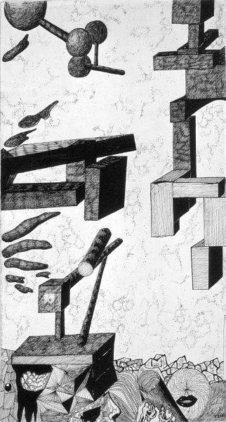 Bildname: Surreale Landschaft/ Bildnummer: 400333 / Material: Tusche auf Zeichenkarton  (nur noch Dia vorhanden) / Bildgröße Dia: 24 x 36 mm  / Beschreibung: 1969 gezeichnet / Reinhard Schäffler
