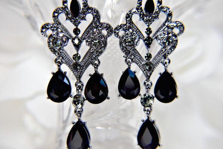 GATSBY EARRINGS, Art Deco Earrings, 1920s Roaring 20s BLACK Chandelier Statement Great Gatsby Wedding gatsby accessories, gatsby dress party by GoddessaDesires on Etsy https://www.etsy.com/listing/581169143/gatsby-earrings-art-deco-earrings-1920s