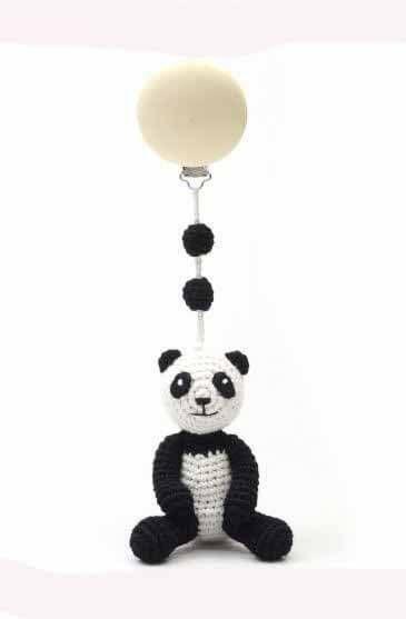 Barnevognspynt Panda - Med barnets navn i træperler - sød og personlige gave til babyen
