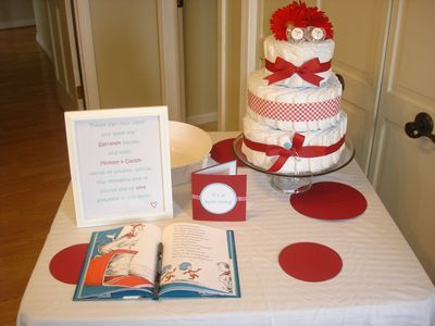 Diaper Cake And Dr. Seuss Book To Sign As Guest Book For Baby Shower!