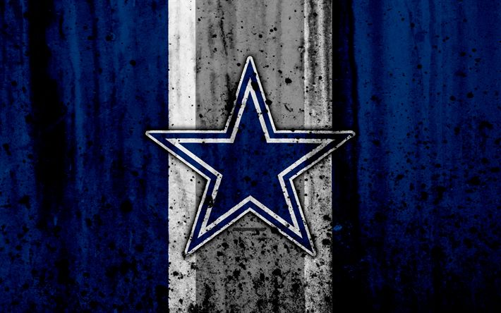 Download wallpapers 4k, Dallas Cowboys, grunge, NFL, american football, NFC, logo, USA, art, stone texture, East Division