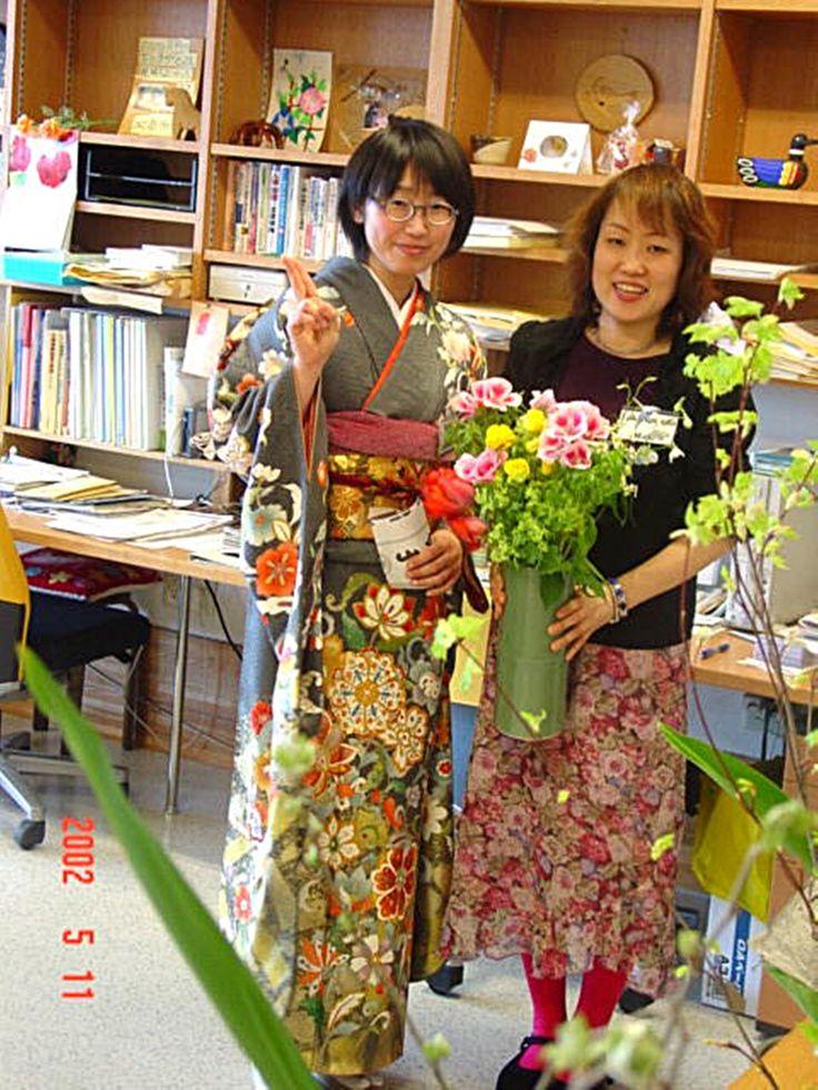 일본장애인 시설 에서 일본 자원봉사원 들.