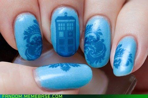 awe ... some!: Tardis Nails, Nails Art, Nailart, Polish Nails, Doctorwho, Doctors Who Nails, Nails Polish, Dr. Who, Nail Art