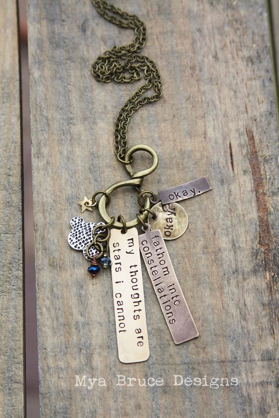 The fault in our stars - mixed metal antique vintage vibe - my thoughts are stars i cannot fathom into constellations on Etsy, $40.00