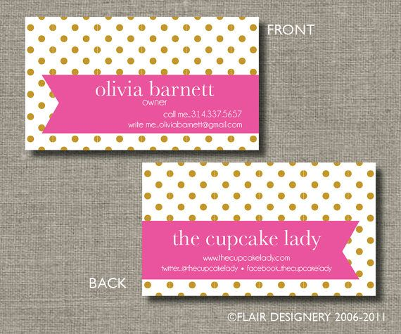 Calling Cards, Call Me Cards, Business Cards, Tags - Set of 100 - Polka Dots Are Pretty by Flair Designery