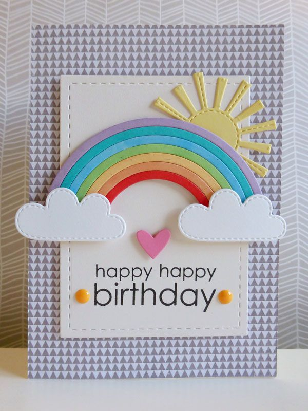 https://flic.kr/p/qVdPuX | Rainbow birthday wishes - 2015-01-05 | Paper: Pink Paislee Stamp: PTI Dies: MFT, Lawn Fawn, Lil' Inker Designs Enamel dots: Freckled Fawn Other: 3D foam, Promarkers