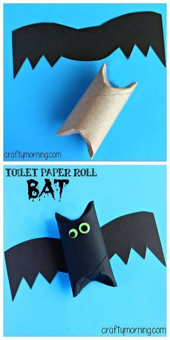 Toilet Paper Roll Bat Art Project #Halloween craft for kids | http://CraftyMorning.com