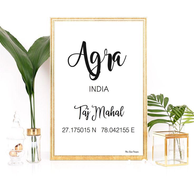 Affiche moderne design Taj Mahal, Coordonnées GPS Taj Mahal, Taj Mahal Agra, Affiche typo, Affiche en noir et blanc, Décoration murale GPS par MonRosePompon sur Etsy https://www.etsy.com/fr/listing/504870991/affiche-moderne-design-taj-mahal