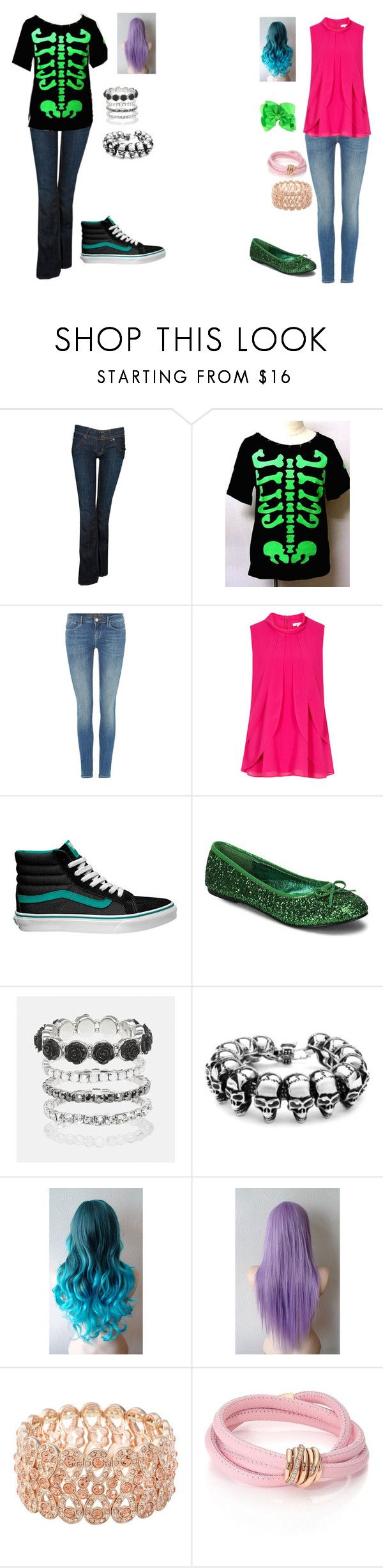 """Emo vs Girly Girl"" by sierra-ivy on Polyvore featuring Hudson Jeans, GUESS, Vans, Funtasma, Avenue, Monet and de Grisogono"