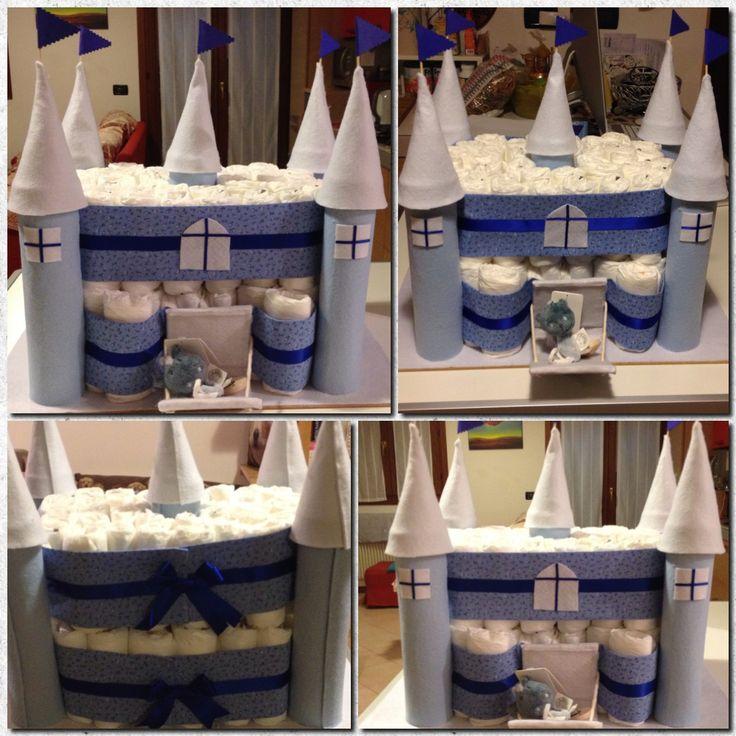 daiper castle, handmade, diaper cake, castello di pannolini, torta di pannolini, fatto a mano, fai da te