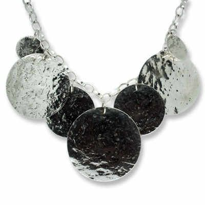 Silver Glitterball Multidisc Necklace by Nikki Galloway #silver #contemporary #unique #London  #designer #jewellery  #NudeJewellery