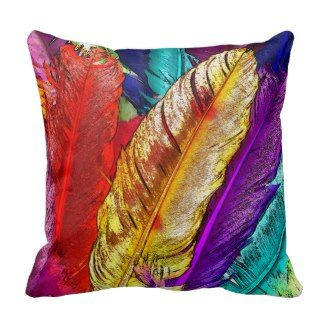 Red Decorative Throw Pillows | Pretty Throw Pillows | Colorful vibrant feathers throw pillow
