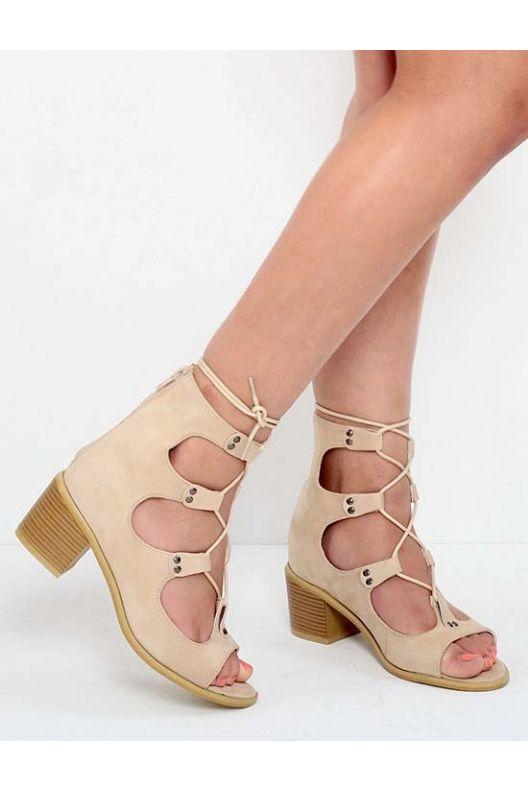 Nola - lace up sandals nude