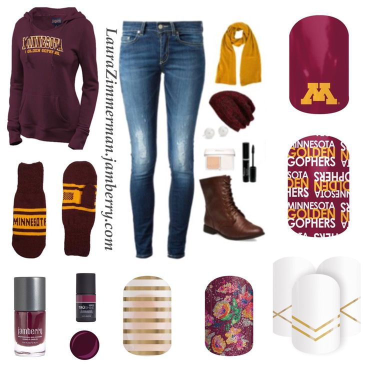 Exclusive University of Minnesota Golden Gophers Jamberry nail wraps and cute game day outfit! Ski-U-Mah! Go all out in maroon and gold. Shop these collegiate wraps and others at https://laurazimmerman.jamberry.com