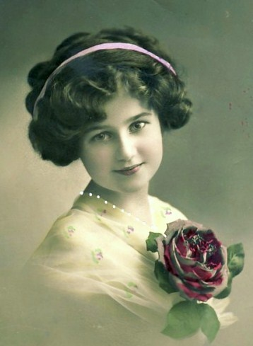 vintage girl tinted postcard