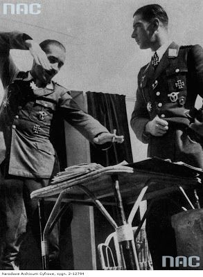 Werner Moelders, fighter pilot, officer, Germany - with German Luftwaffe Major General Adolf Galland