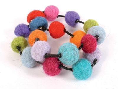 £4.00 Felt bracelet with multi-coloured bobbles from Nepal.  #Fairtrade #Bracelet #Felt #Nepal #Bobbles