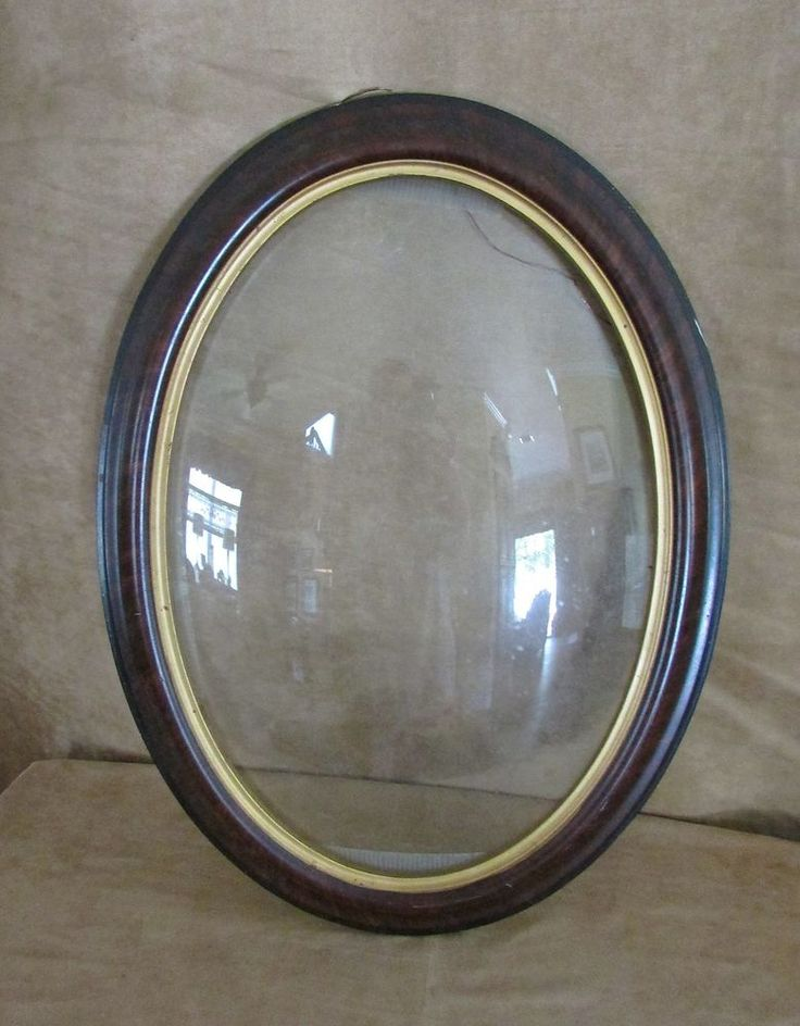 Antique Curved Bubble Glass Oval Wood Wooden Picture Frame