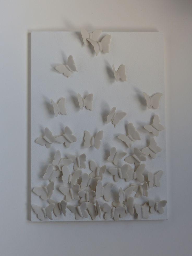porseleinen vlinder schilderij www.marionkeramiek.nl