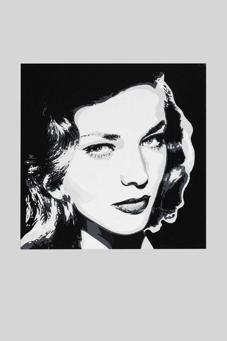 Lauren Bacall, 20 x 20 inch