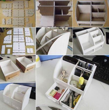 DIY coffret de rangement maquillage en carton. Pour les amateurs de cartonnage, voici un modèle de coffret de rangement fabriqué en carton. Ce qui ne l'empêche pas pour autant d'être très résistant lorsqu'il est réalisé avec du carton rigide double cannelure. Muni de deux tiroirs et de compartiments étagés, il peut aussi servir de rangement de bureau ou de boite à bijoux.  Pour l'imperméabiliser et le solidifier, appliquez du papier uni ou décoratif au verni colle sur toute la surface.
