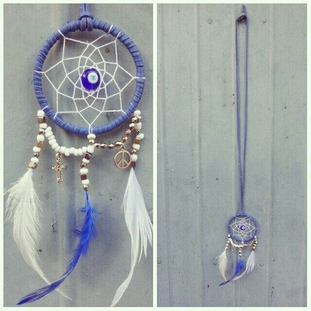 dreamcatcher necklace handmade with leather surface faux suede thread ,embroidery thread ,beads, charms  and feathers