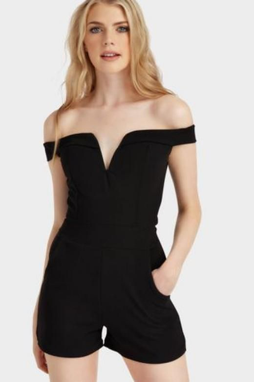 0d530921d6 Lotd Ladies   Womens Black V Neck Cut Out Bardot Playsuit Clothing Bnwt  Female