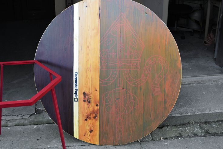 Round table made from salvaged wood