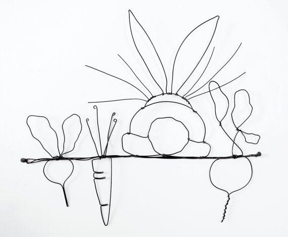 Häschen in der Garten-Draht-Kunst Mauer-Skulptur