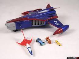 Dall'alto in senso orario: Unit G-5 'God Phoenix', Unit G-3 'Sonic Car', Unit G-4 'Helico Buggy', Unit G-2 'Race Car', Unit G-1 'Jet Fighter'. Serie Gatchaman - Science Ninja Team (科学忍者隊ガッチャマン - Kagaku Ninjatai Gatchaman). https://www.youtube.com/watch?v=m7cK79wKCZY
