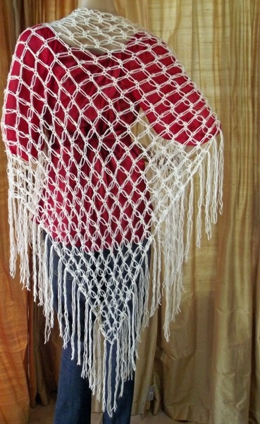 Mohair Blend Solomon's Knot Crocheted Lace Shawl