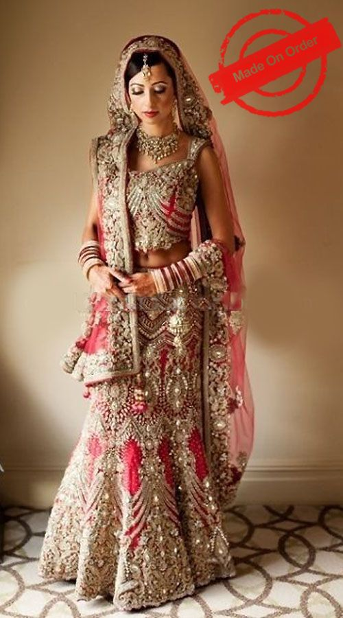 Exceptionally Made Red Net Heavy Work Bridal Lehenga Choli