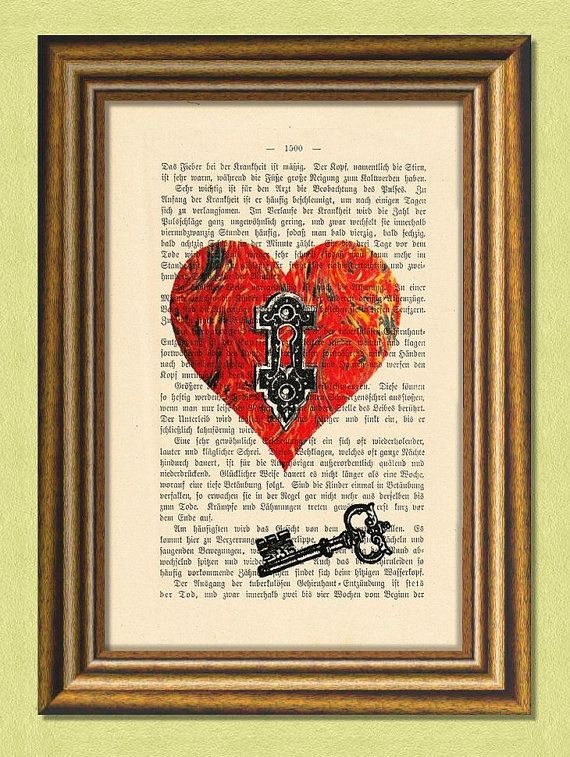 Black Friday! Buy 1 Get 2! - The Key to My Heart  Dictionary art  Antique by littlevintagechest, $7.99