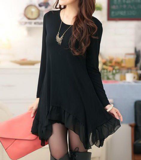 Black Long Sleeve Irregular Hem Chiffon Dress
