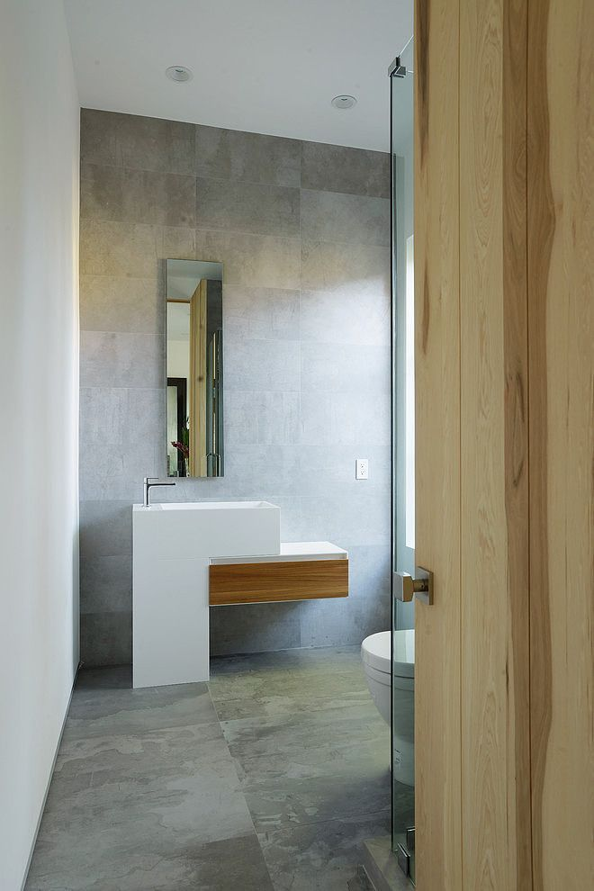 Nice cement modern vanity for powder room
