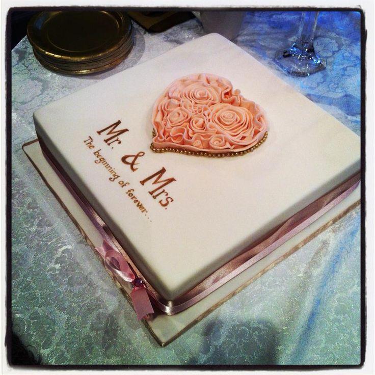 Mr. & Mrs. Ruffled heart engagement cake  #love #cakestar