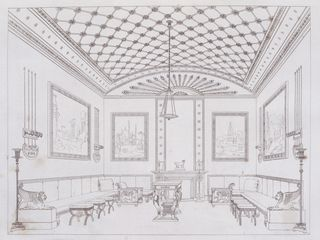 Book Illustration, Household Furniture and Interior Decoration, Drawing room, plate VIII, 1807. Neo-Egyptian.