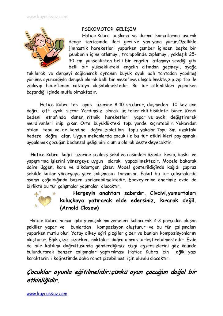 www.kuyruksuz.com                           PSİKOMOTOR GELİŞİM                           Hatice Kübra başlama ve durma kom...