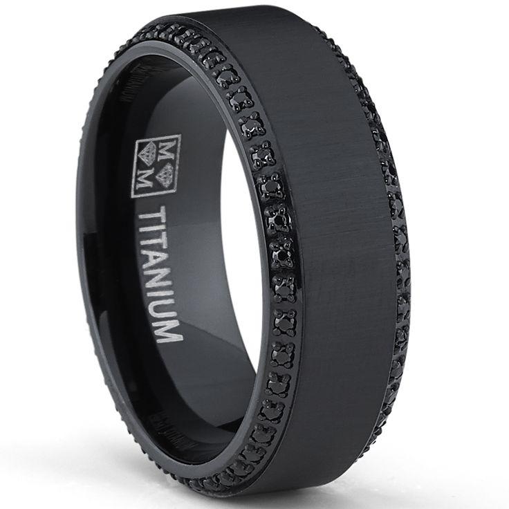 Oliveti Black Plated Titanium Men's Black Cubic Zirconia Comfort Fit Wedding Band (8 mm) - Overstock Shopping - Big Discounts on Men's Rings
