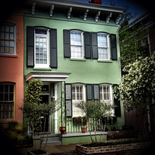 Green house in Savannah's Historic District