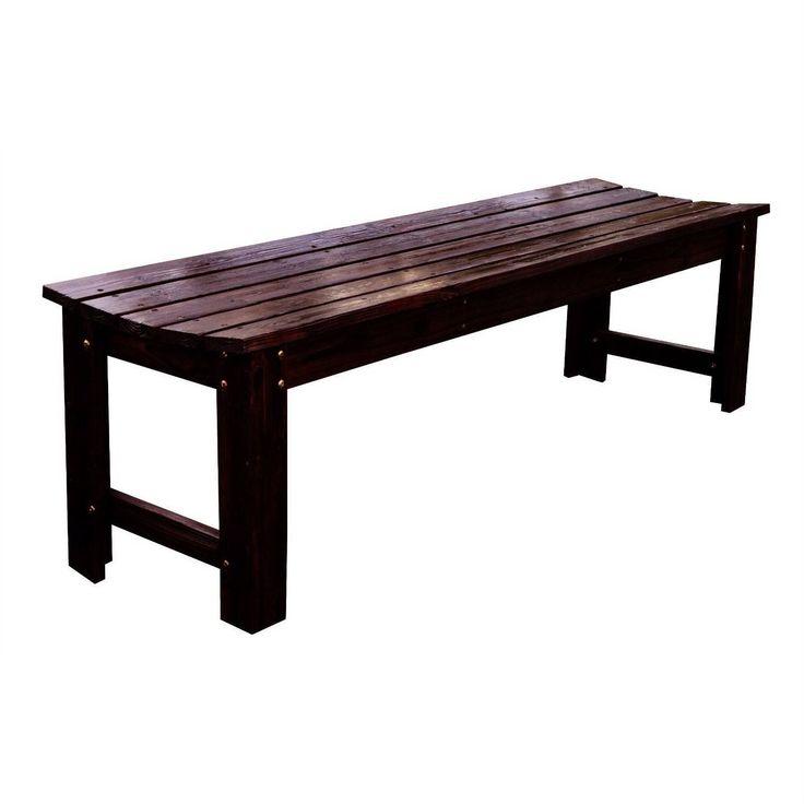 5-Feet Backless Outdoor Garden Patio Cedar Wood Bench in Burn Brown