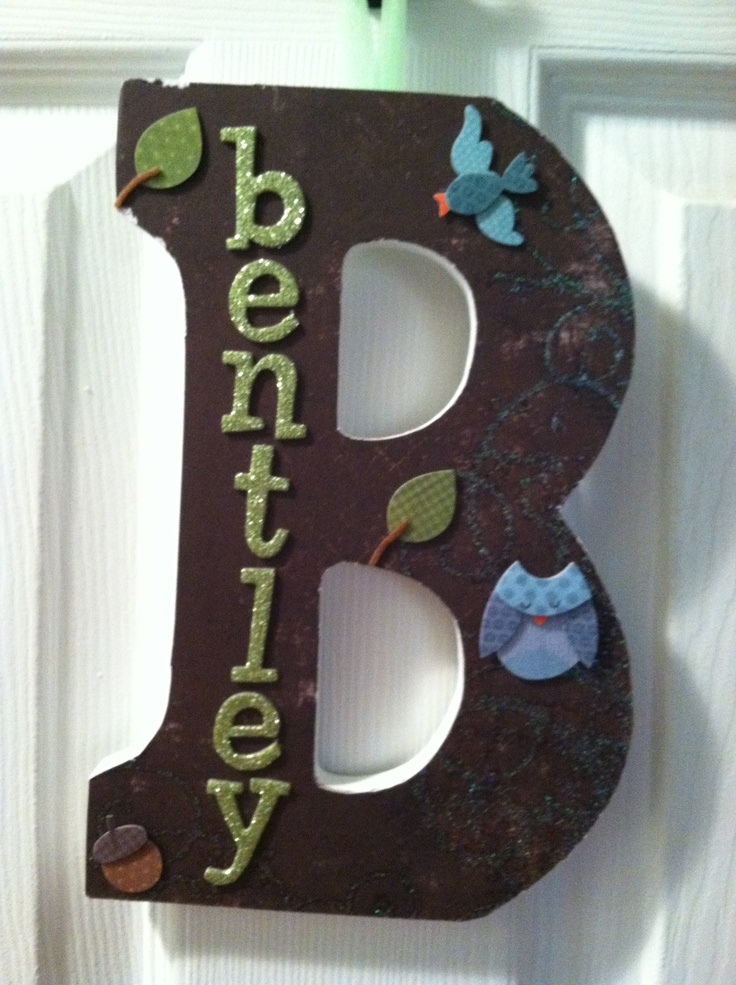 Wooden letter with adhesive applied paper and decor for Wooden letters for crafts