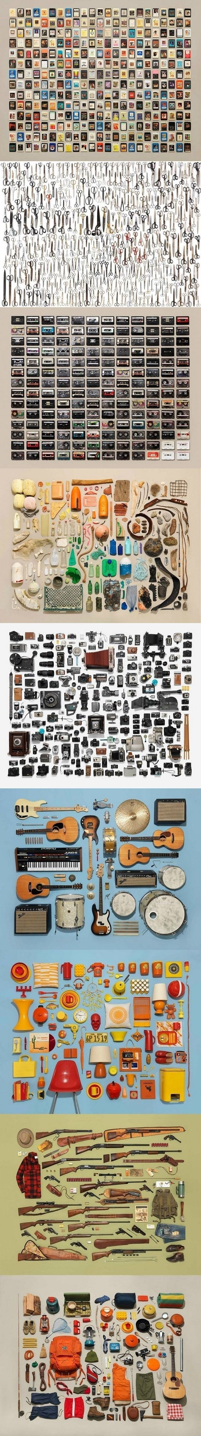 Джим Голден из Портленда (штат Орегон, США) – автор серии тематических снимков, в создании которых ему помогает стилист Кристин Лейн. Их тематические фотографии аккуратно разложенных предметов, гаджетов и вещей смотрятся особенно привлекательно, если мысленно представить себе, как бы это выглядело всё в одной куче.