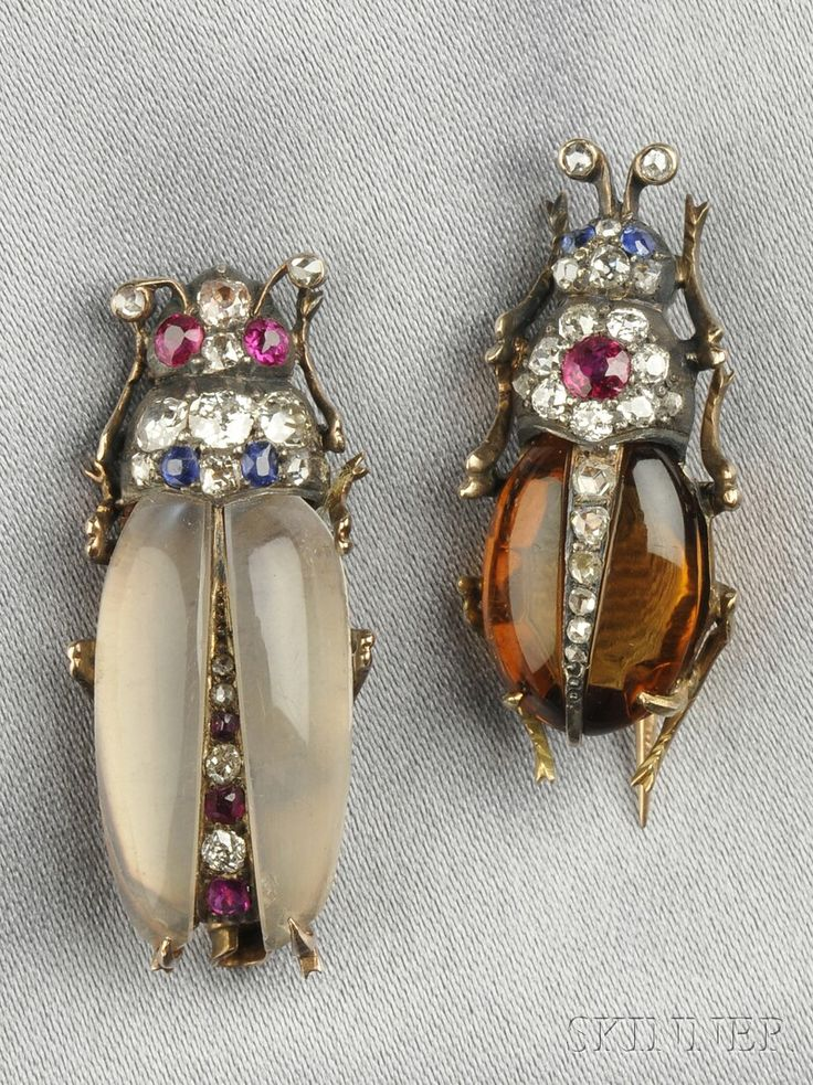 Two Antique Gem-set Insect Brooches, with citrine and moonstone bodies and ruby and sapphire melee, with old mine and rose-cut diamond accents, silver and gold mounts,